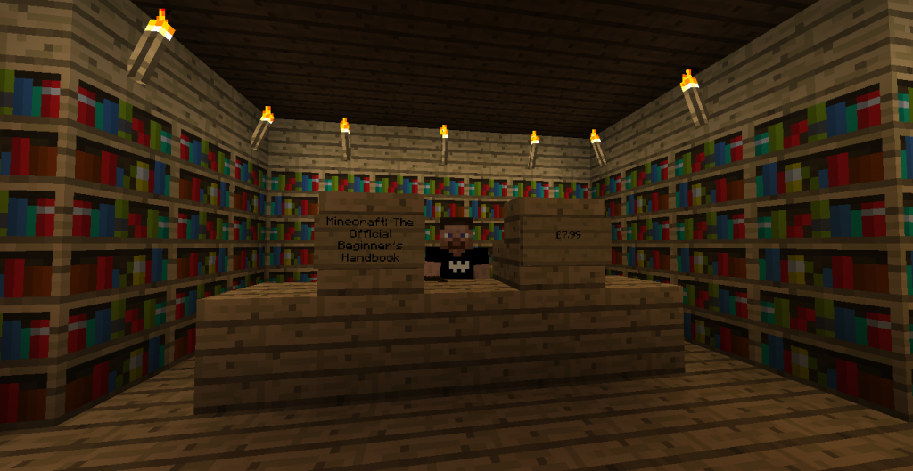 Minecraft bookshop interior
