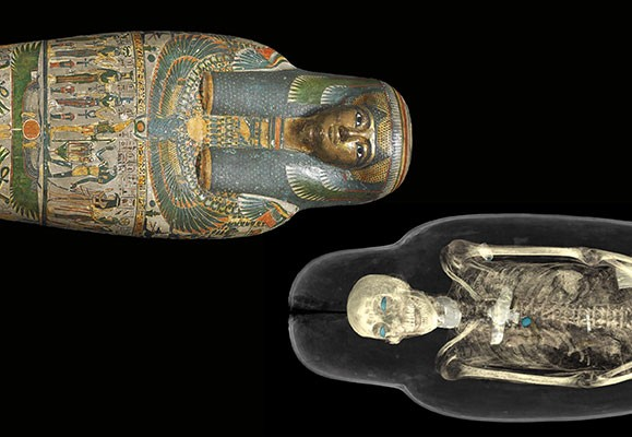 Mummy of a priest's daughter named Tamut in a painted case, and CT scan of the same mummy.